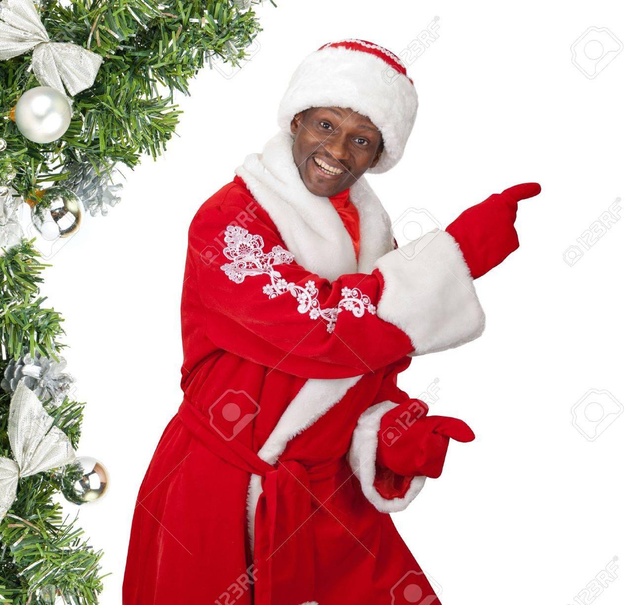Pere Noel Noir Surprised Black Santa Claus On A White Background Stock Photo