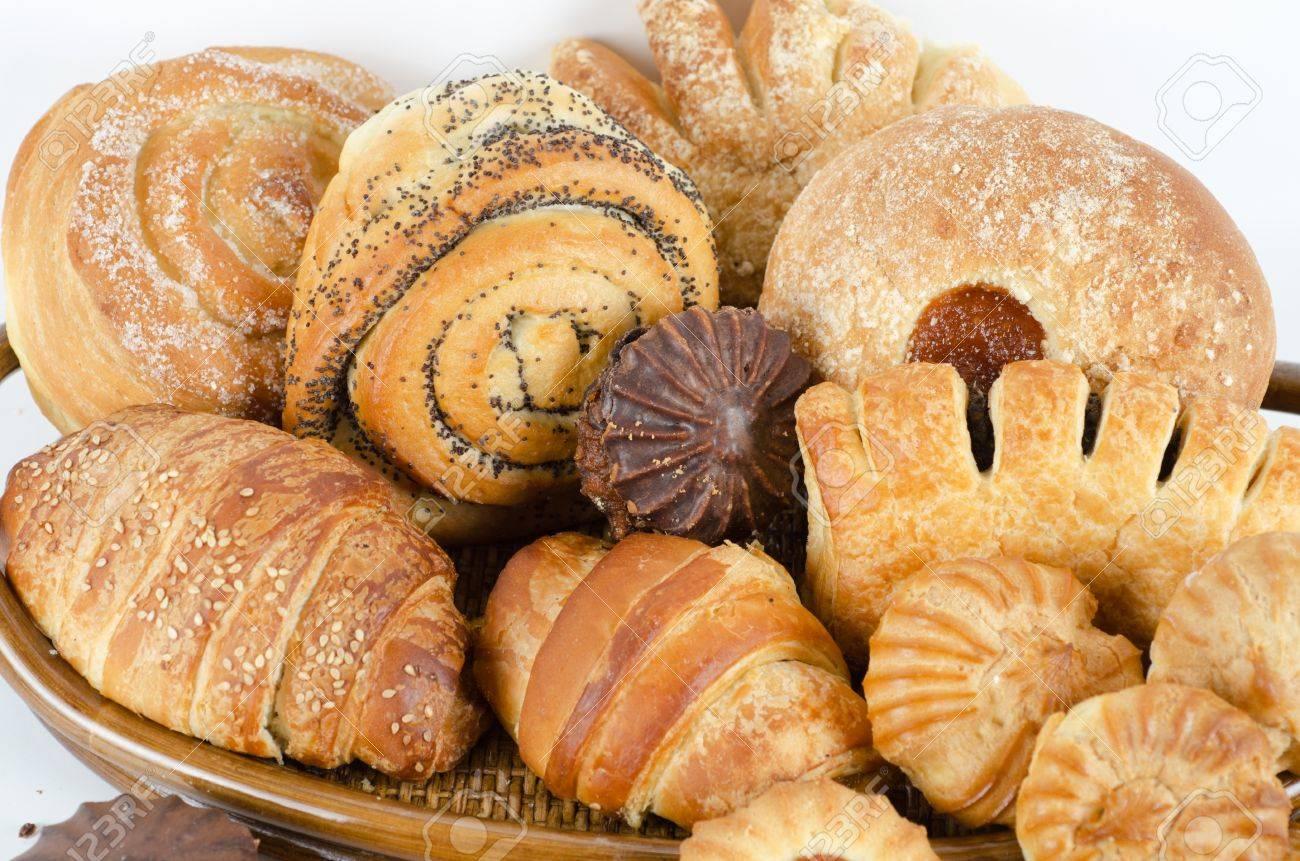 Bakery foodstuffs set on a white background Stock Photo - 11575377
