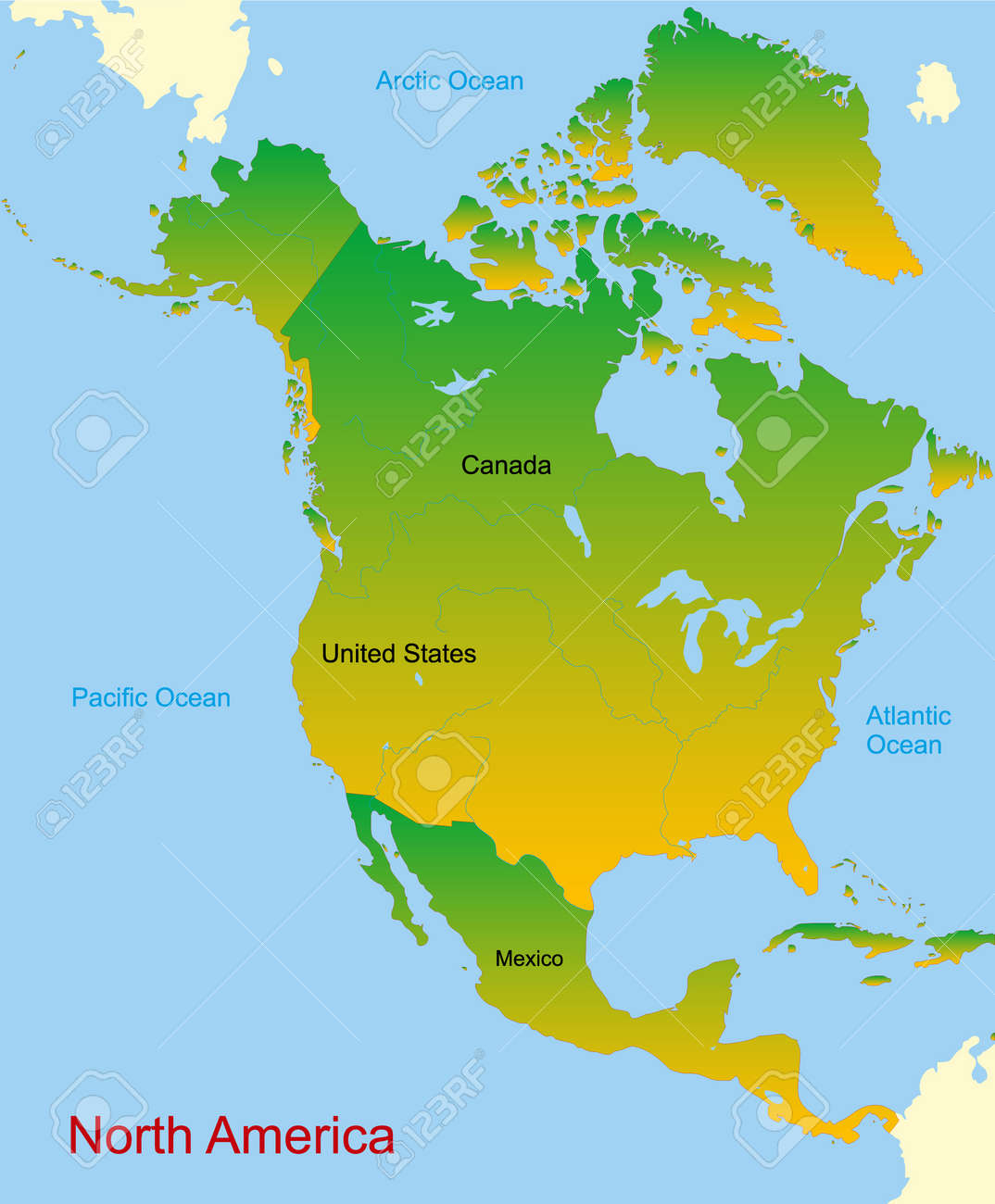 Free Vector Map Of North America.Detailed Vector Map Of North America Continent Royalty Free Cliparts