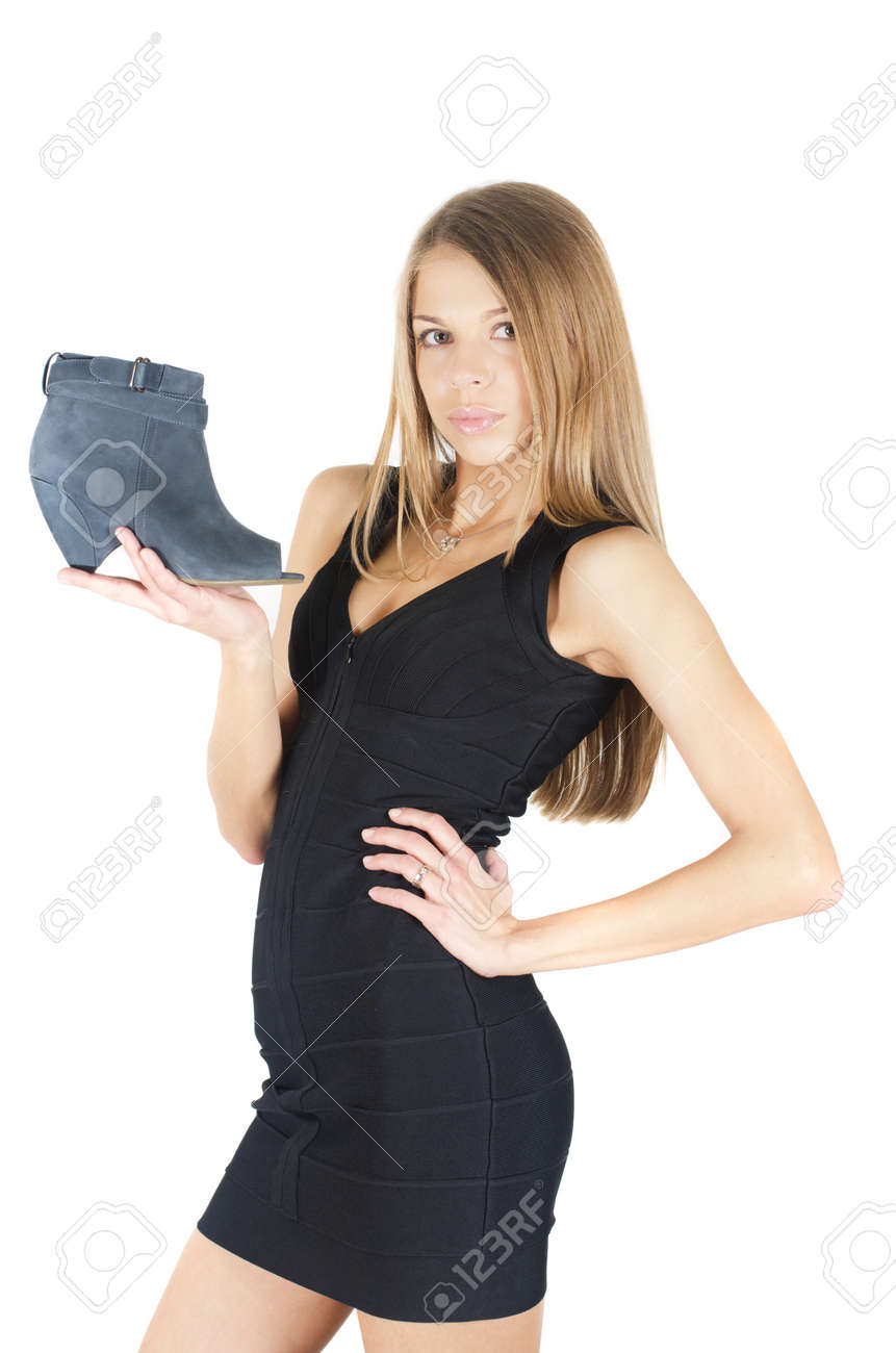 beautiful young woman with a shoe on white Stock Photo - 13823337