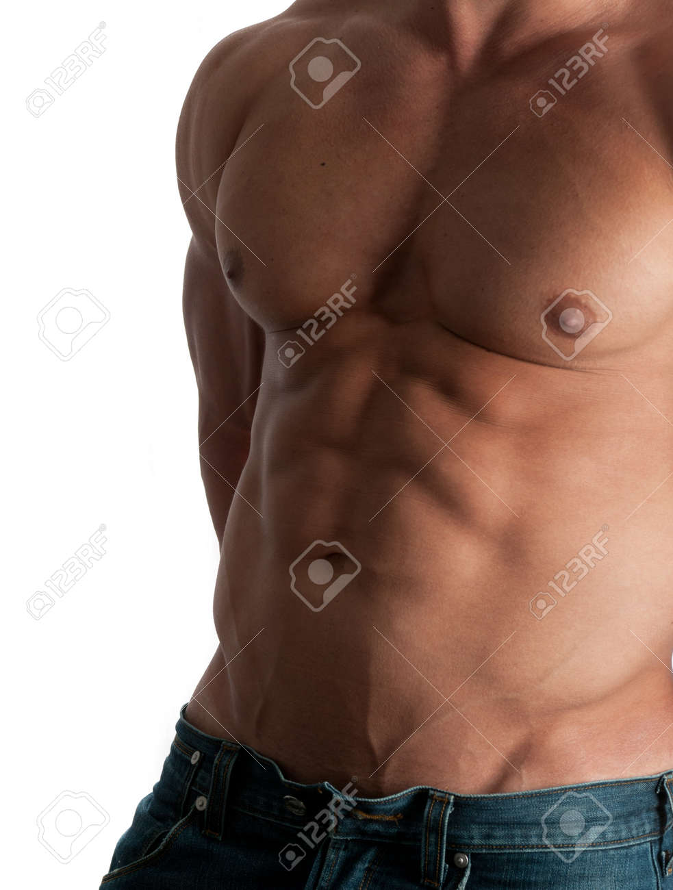 Muscular male torso of bodybuilder at jeans on white background Stock Photo - 14067373