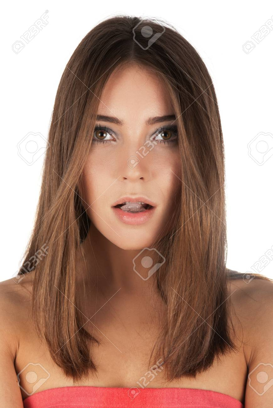 Beautiful girl hold ice cube in mouth and eat it Stock Photo - 14551592