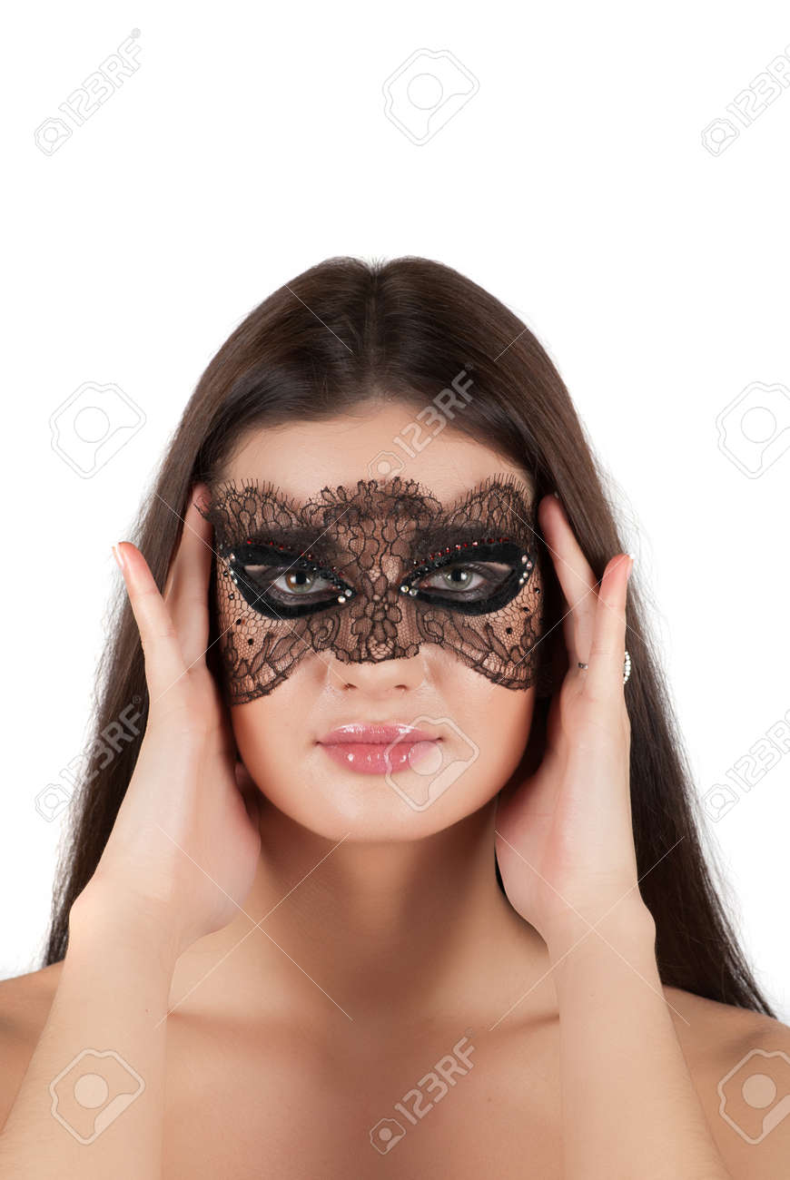 girl at mask closeup on a white background Stock Photo - 14795312