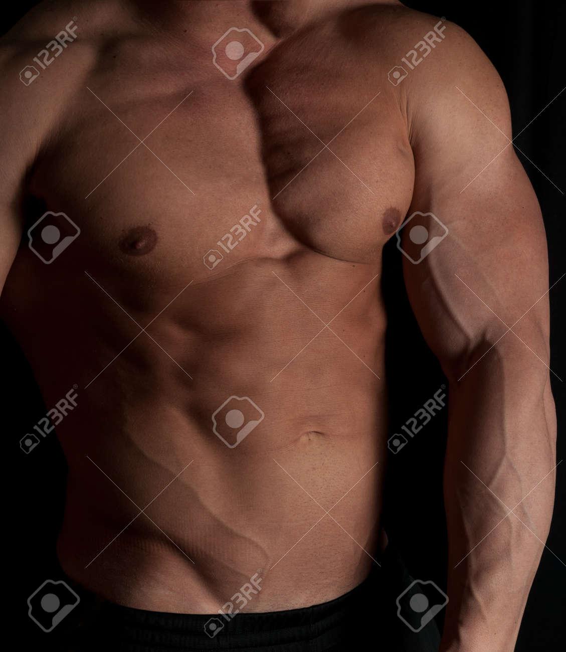 Muscular male torso of bodybuilder on white background Stock Photo - 15975847