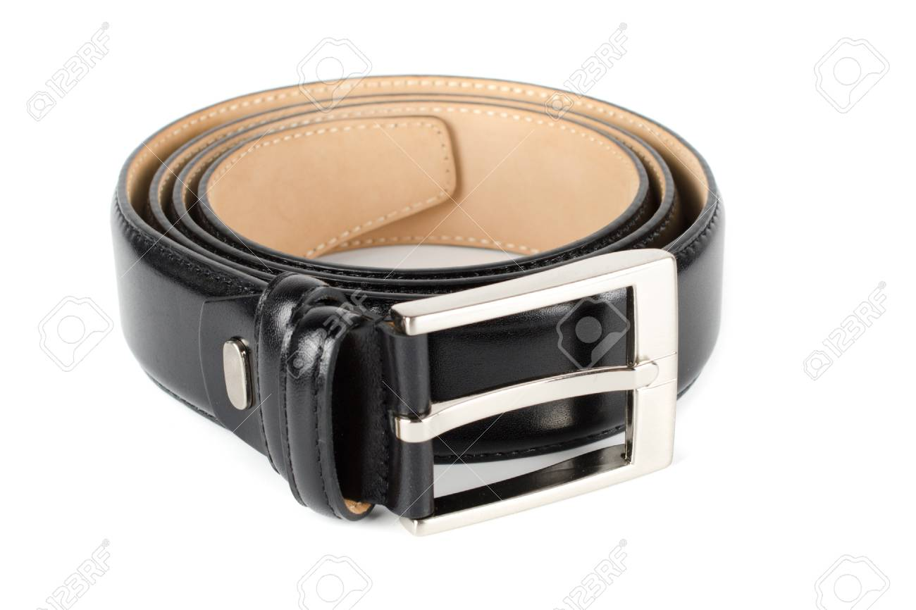 Men s leather belt on a white background Stock Photo - 17996626