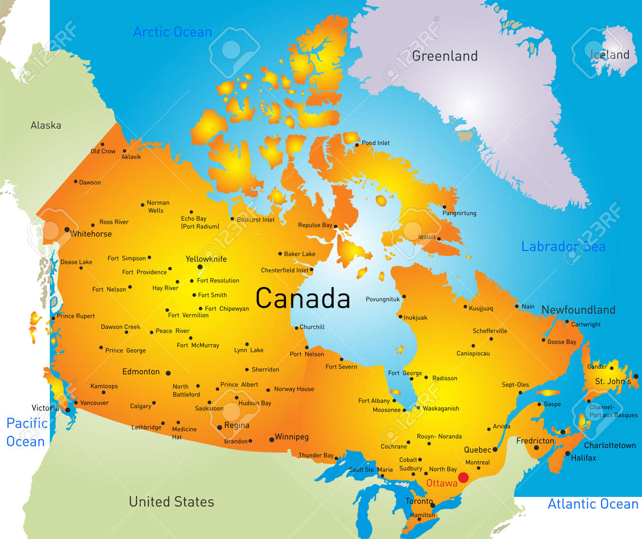 Vector Map Of Canada Country Royalty Free Cliparts Vectors And - Mapa de canada