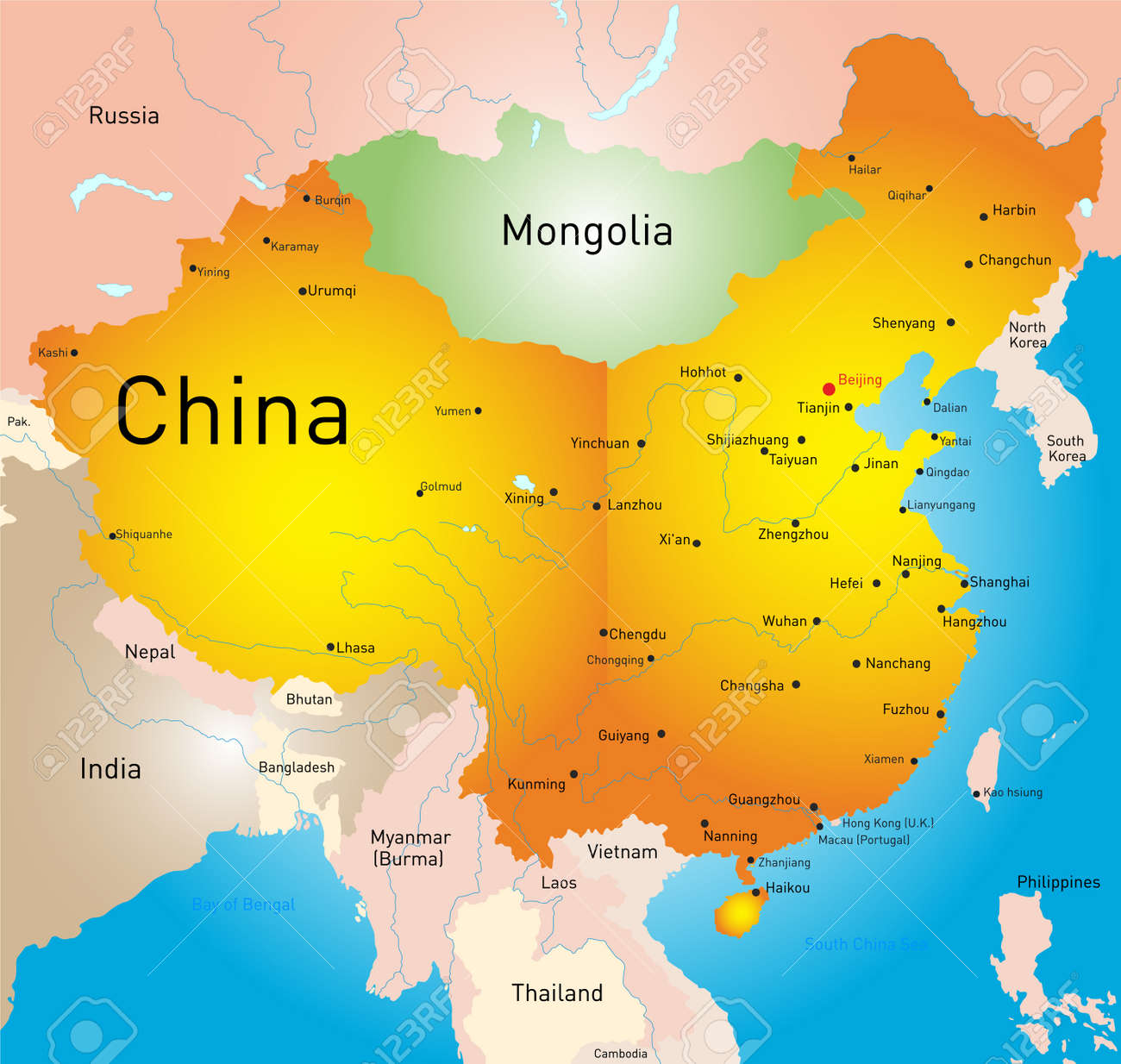 Vector Map Of China Country Royalty Free Cliparts Vectors And