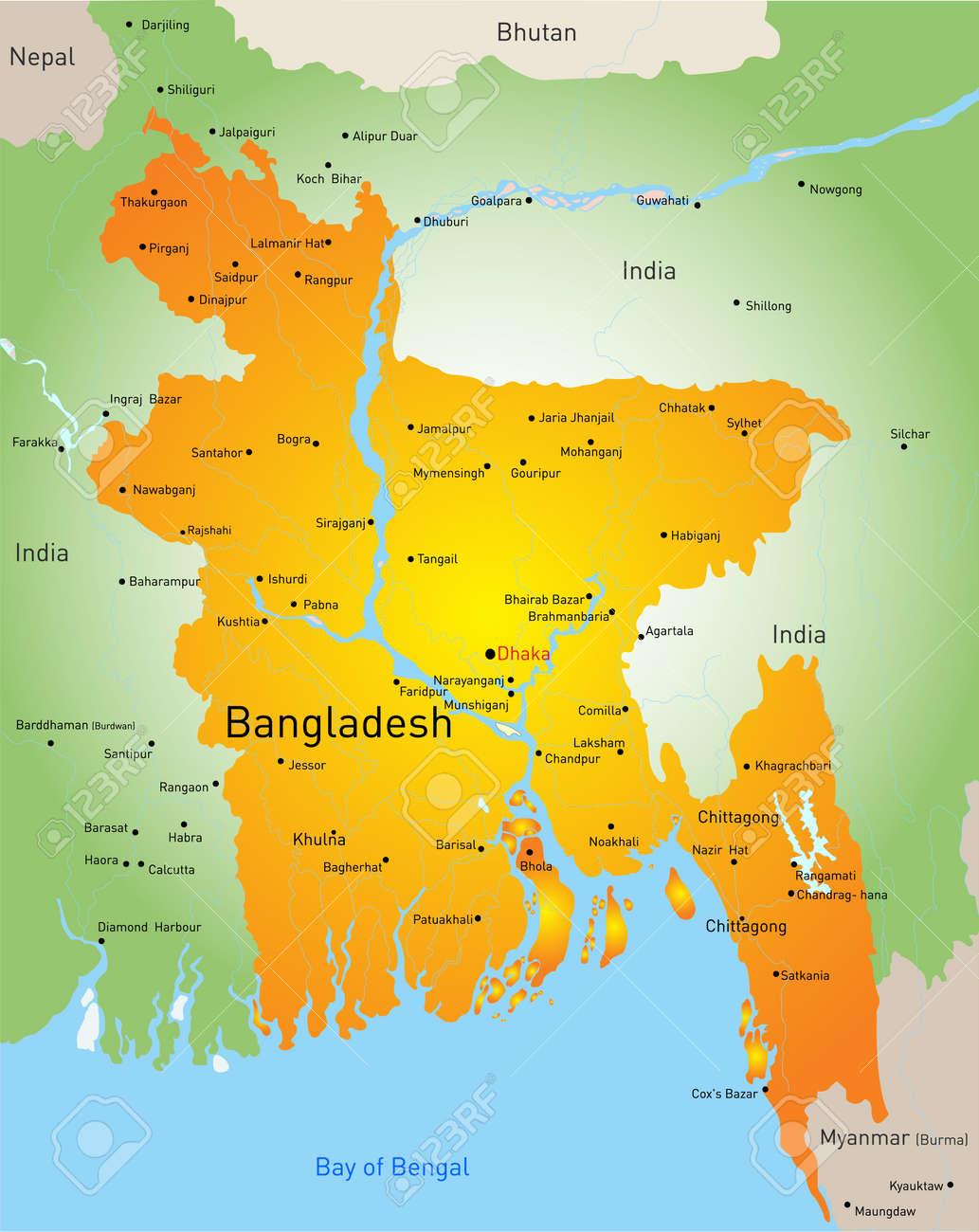 Vector Map Of Bangladesh Country Royalty Free Cliparts Vectors - Bangladesh map download