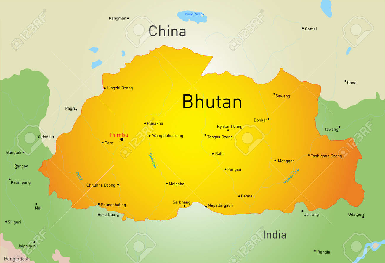 Vector Map Of Bhutan Country Royalty Free Cliparts Vectors And - Map of bhutan