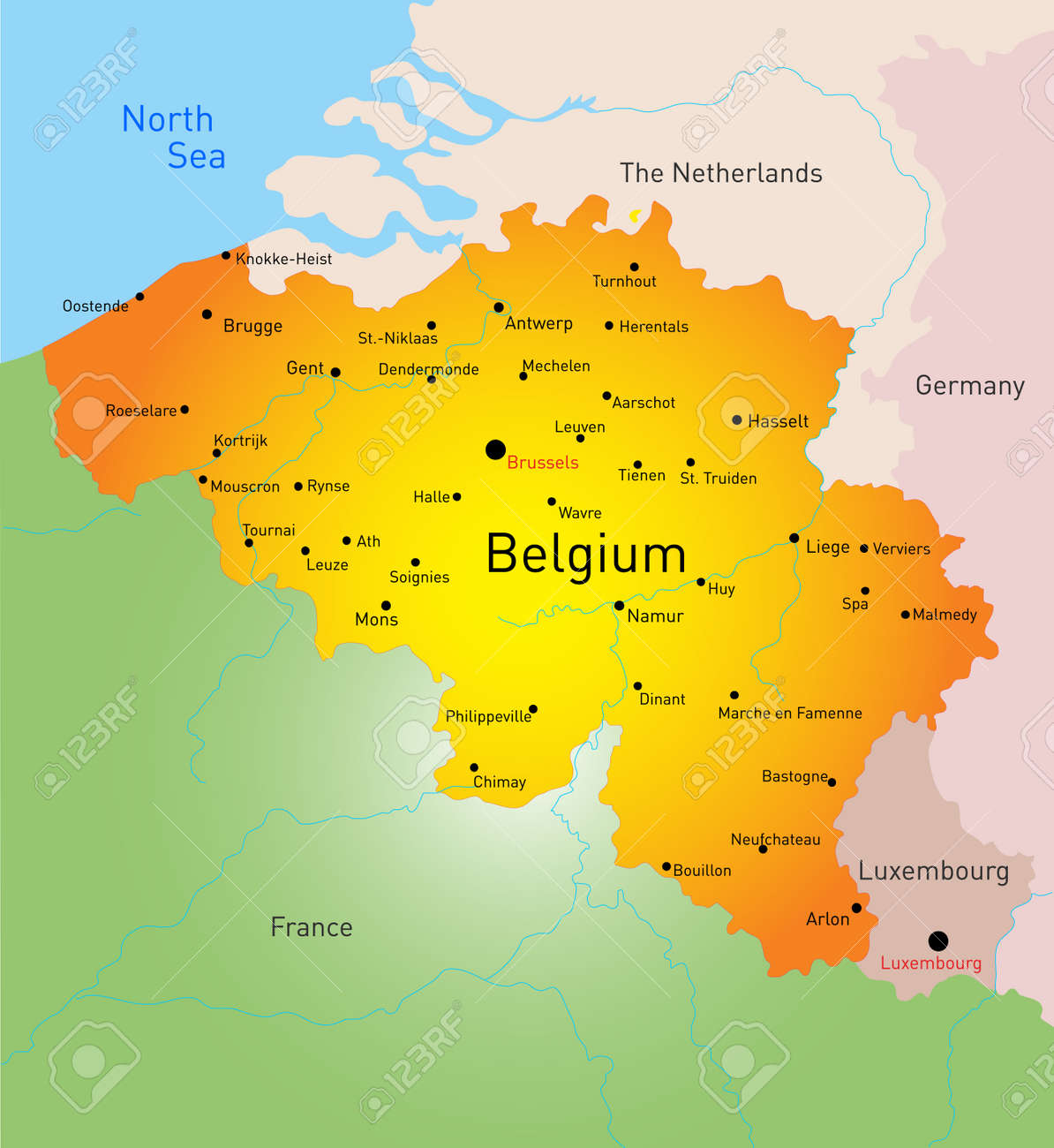 Vector Color Map Of Belgium Country Royalty Free Cliparts Vectors – Map of Belguim