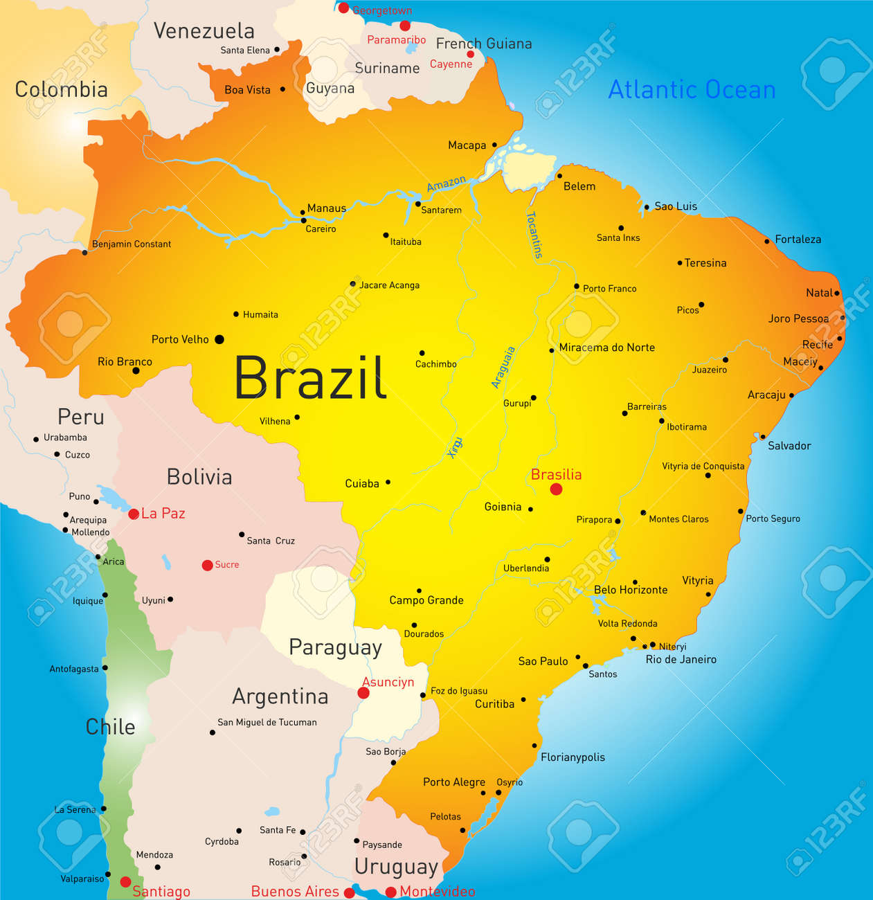 Abstract Vector Color Map Of Brazil Country Royalty Free Cliparts ...