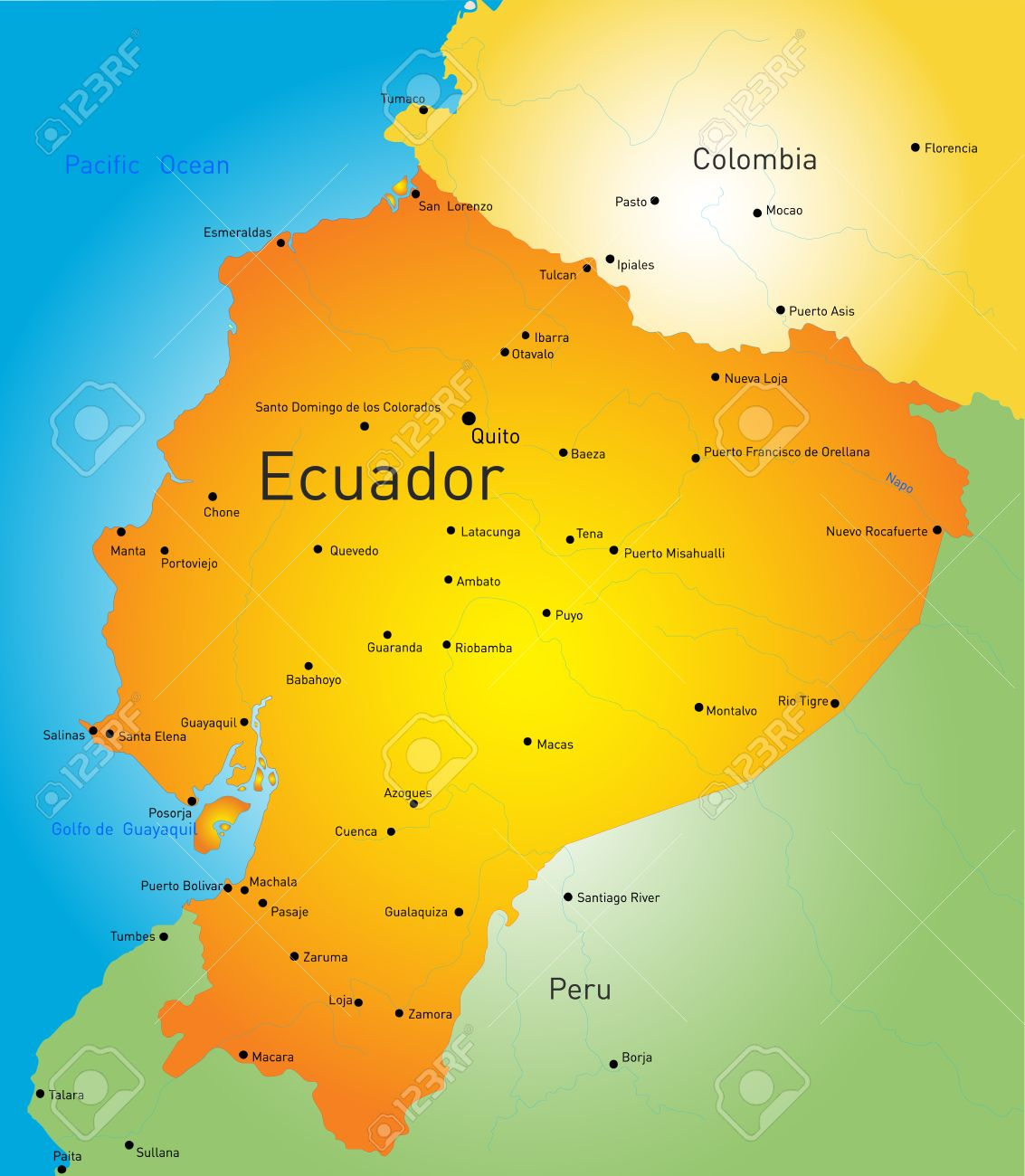 abstract vector color map of ecuador country royalty free cliparts  - abstract vector color map of ecuador country stock vector