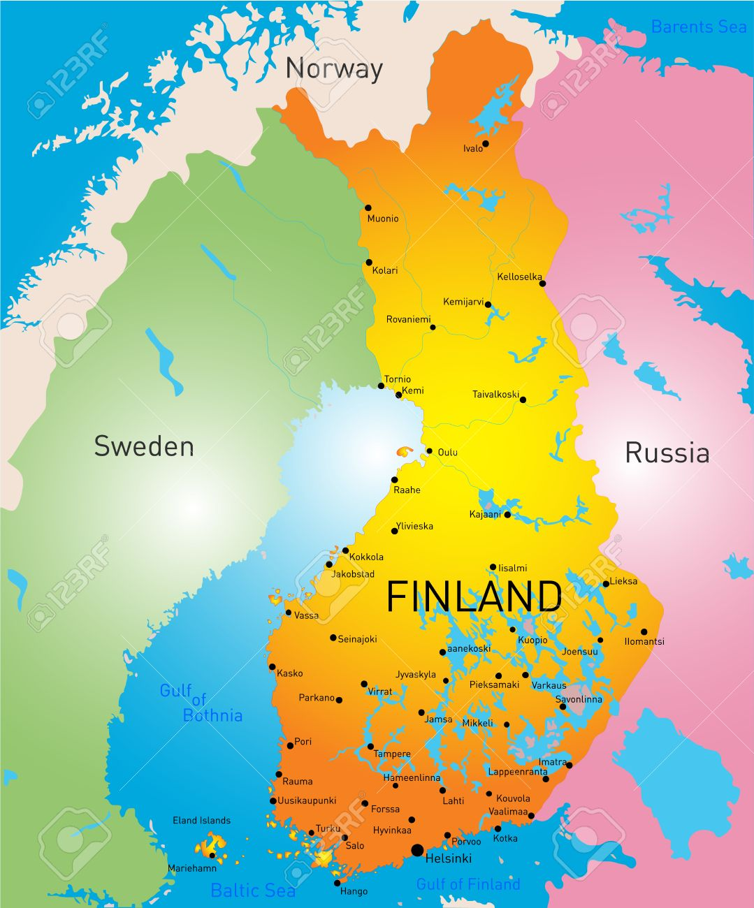 Vector Color Map Of Finland Country Royalty Free Cliparts Vectors