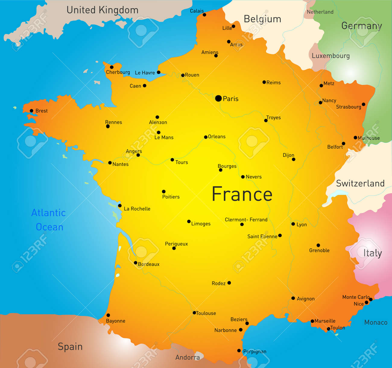 Country Map Of France.Vector Color Map Of France Country