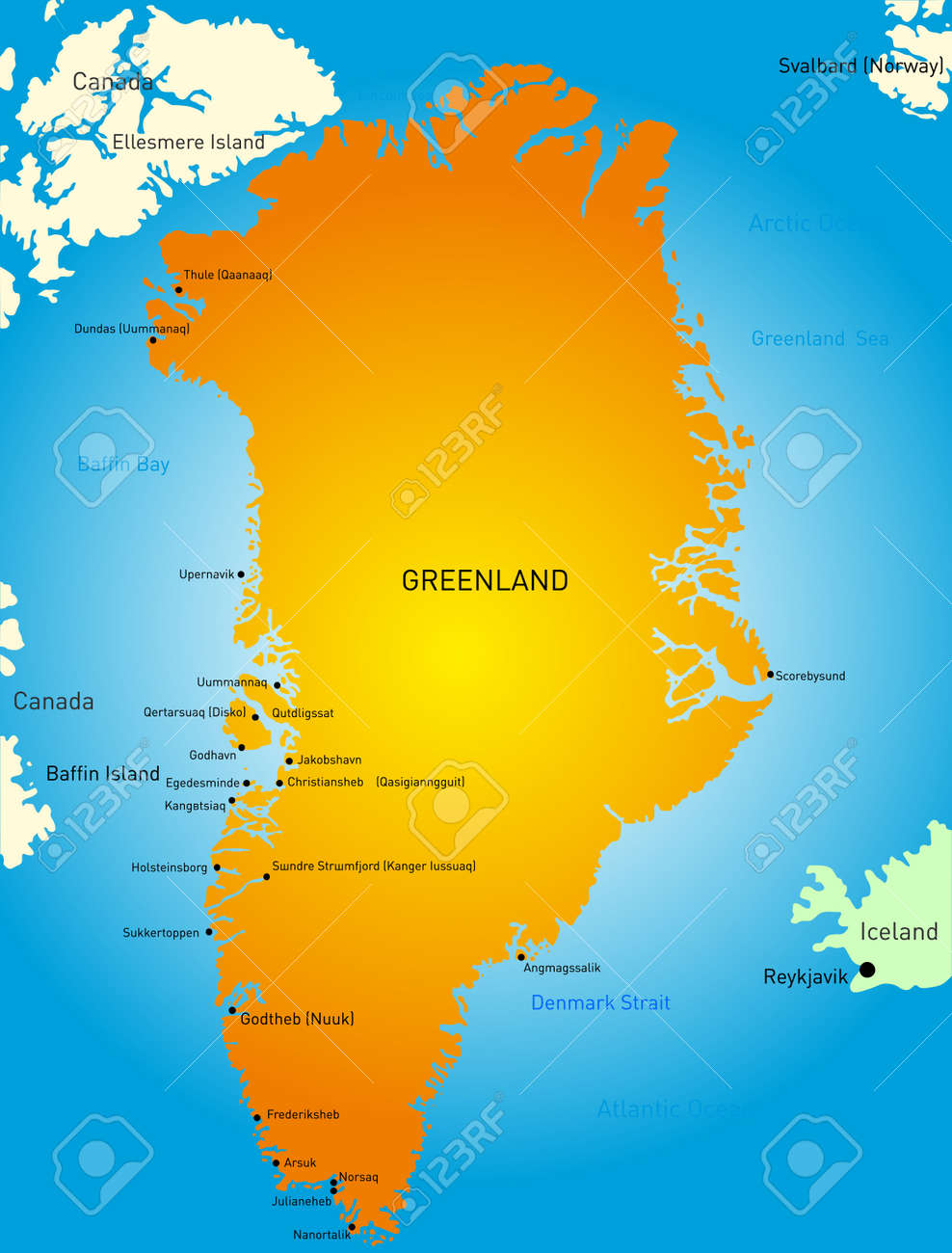 Detailed Map Of Greenland Map Royalty Free Cliparts Vectors And - Greenland map