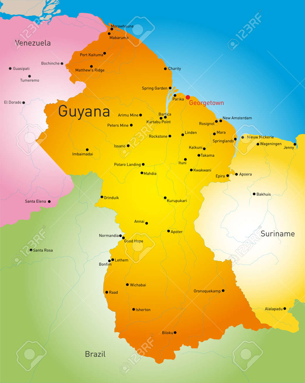 Detailed Map Of Guyana Country Royalty Free Cliparts, Vectors, And ...