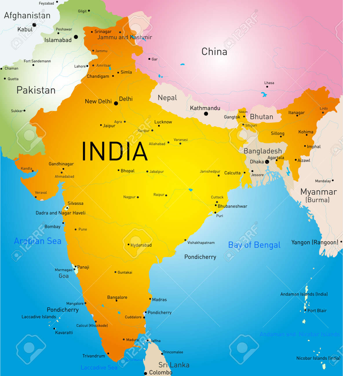 Vector Detailed Map Of India Country Royalty Free Cliparts, Vectors ...