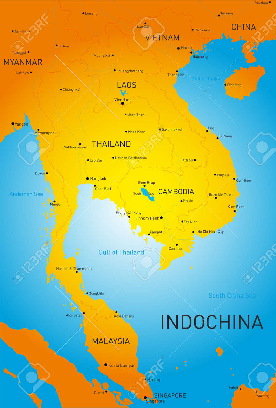Vector detailed map of Indochina countries on sumatra map, taiwan map, manchuria map, south america map, malay peninsula map, cambodia map, vietnam map, indonesia map, malay archipelago map, west africa map, irrawaddy river map, philippines map, ottoman empire map, indian ocean map, world map, china map, burma map, java map, thailand map, asia map,