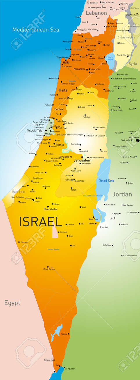 Vector Detailed Map Of Israel Country Royalty Free Cliparts - Detailed map of egypt and jordan