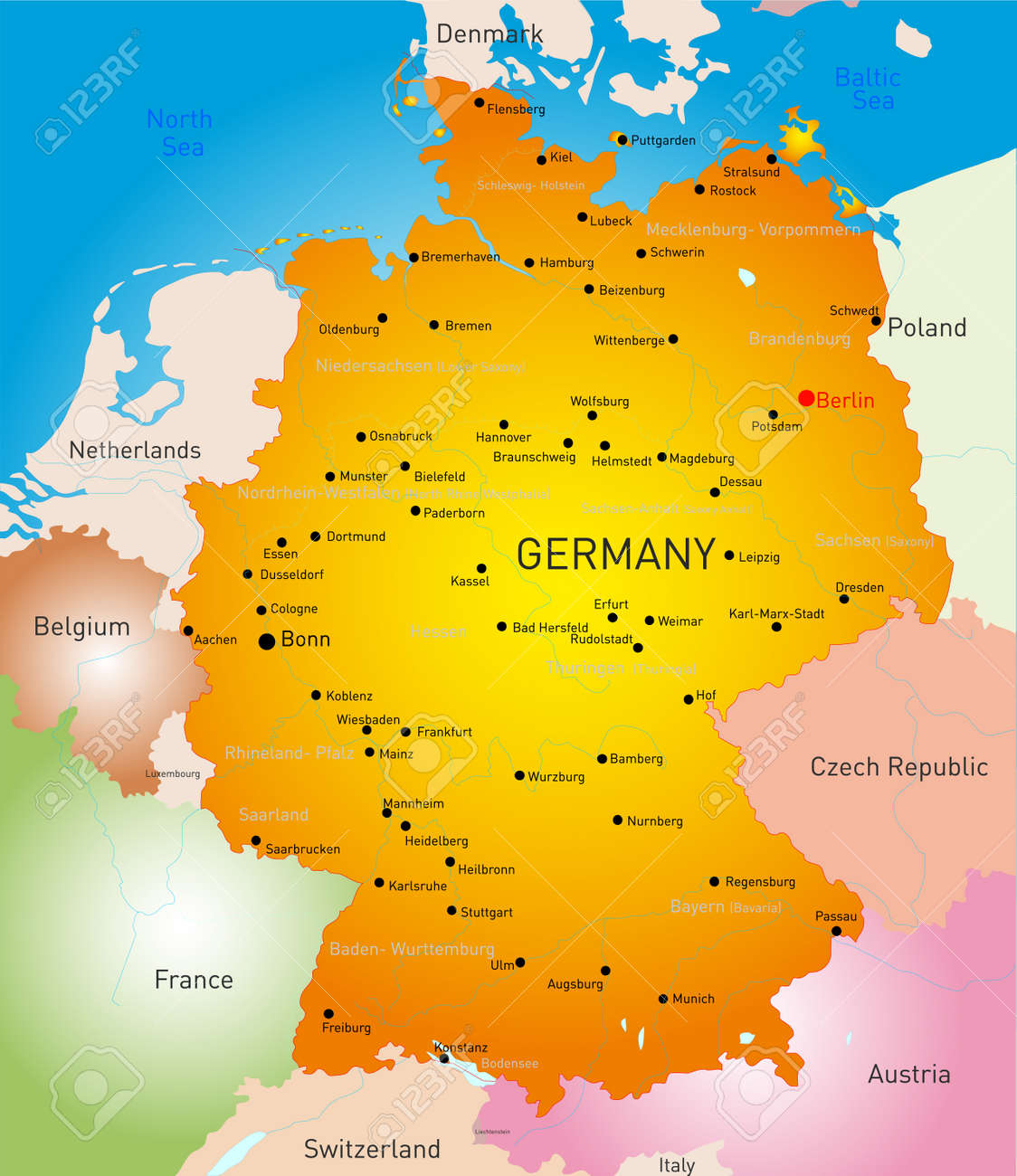 Vector Detailed Map Of Germany Country Royalty Free Cliparts - Germany map detailed