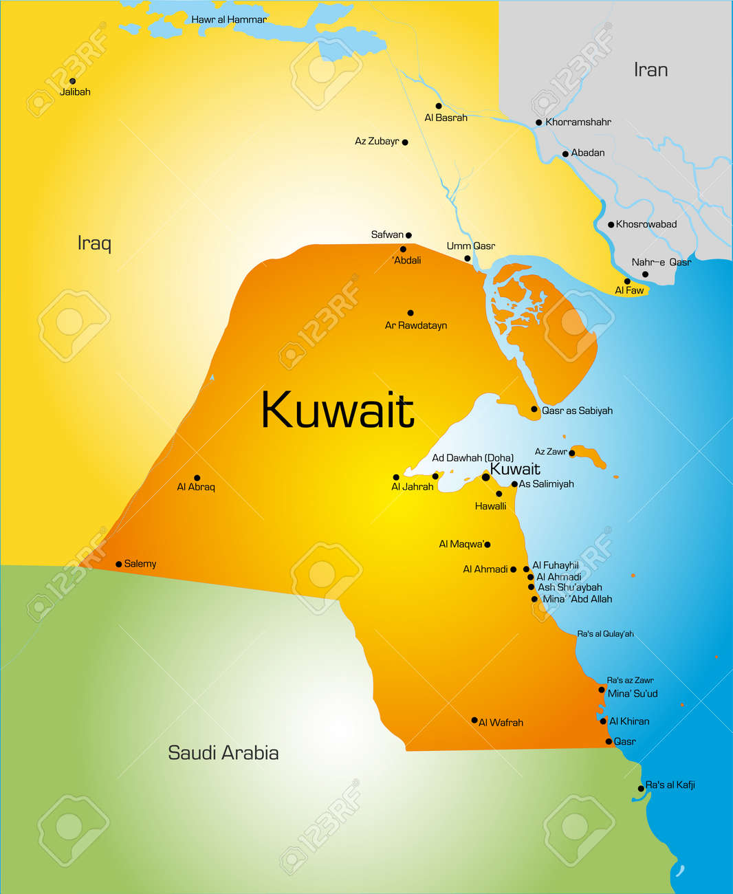 Detailed Vector Color Map Of Kuwait Country Royalty Free Cliparts - Kuwait map
