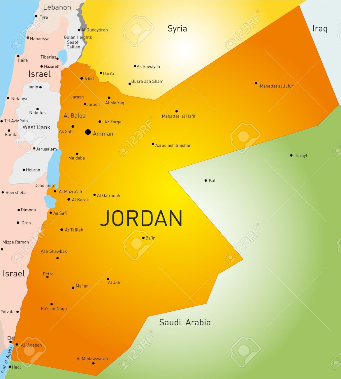 Detailed Vector Color Map Of Jordan Country Royalty Free Cliparts - Jordan map