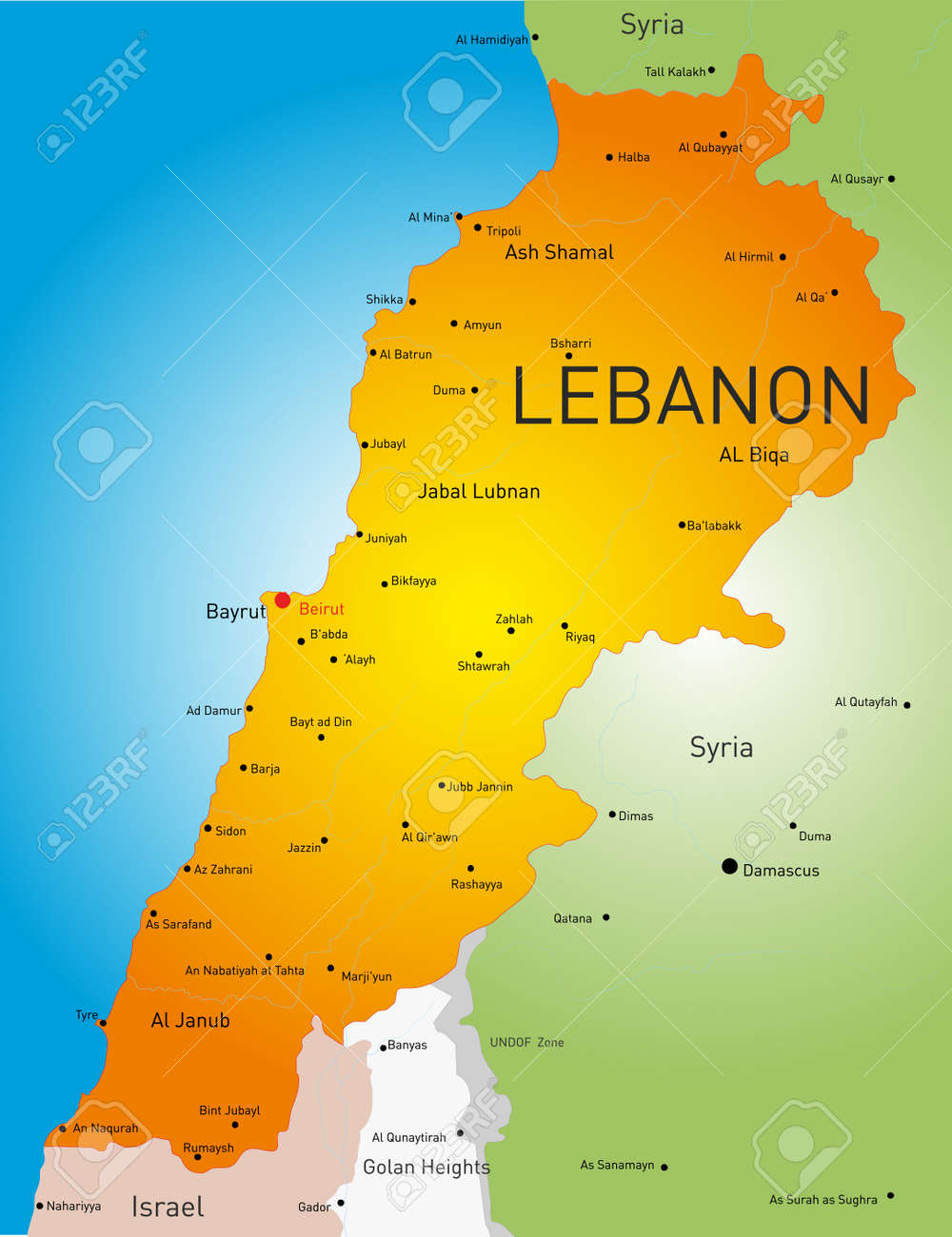 Detailed Vector Color Map Of Lebanon Country Royalty Free Cliparts