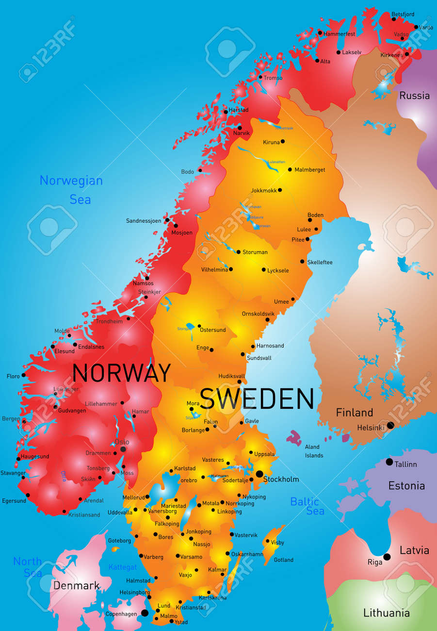 Vector Color Map Of Norway And Sweden Country Royalty Free - Norway map free