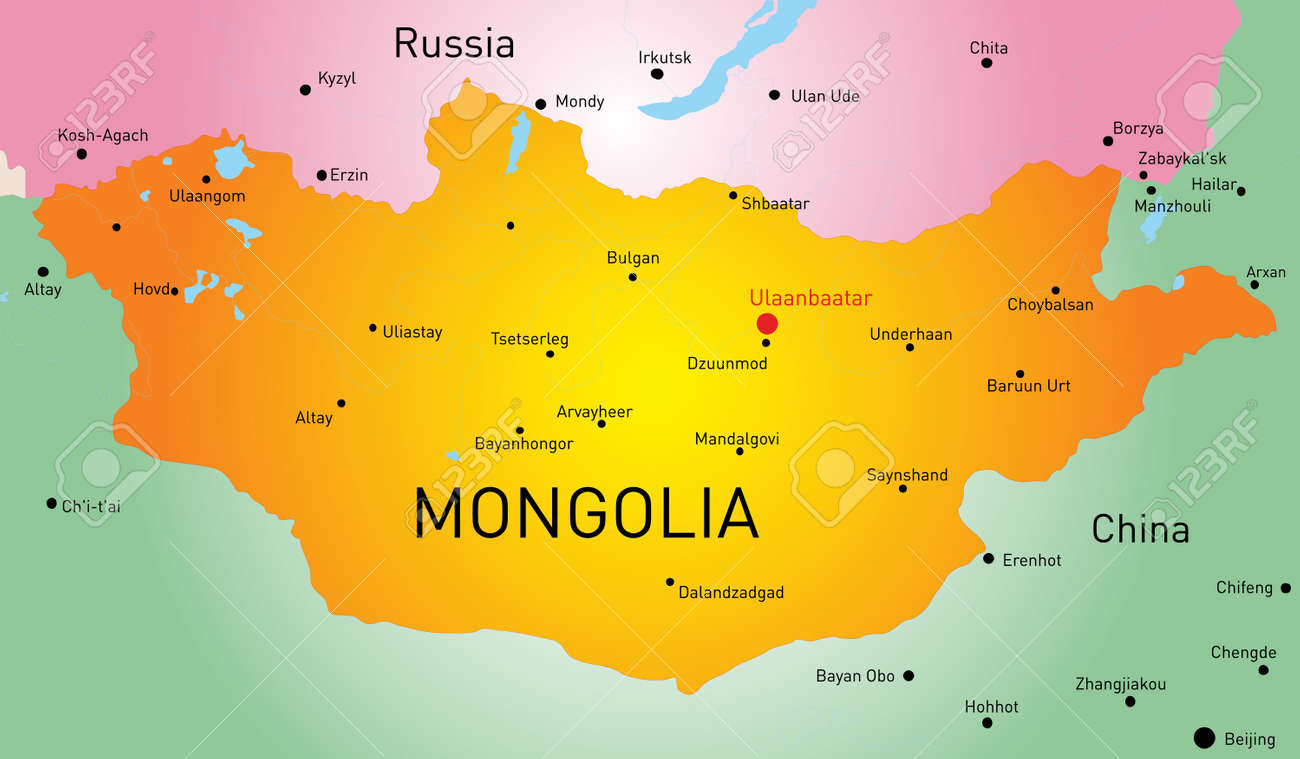 Vector Map Of Mongolia Country Royalty Free Cliparts, Vectors, And ...