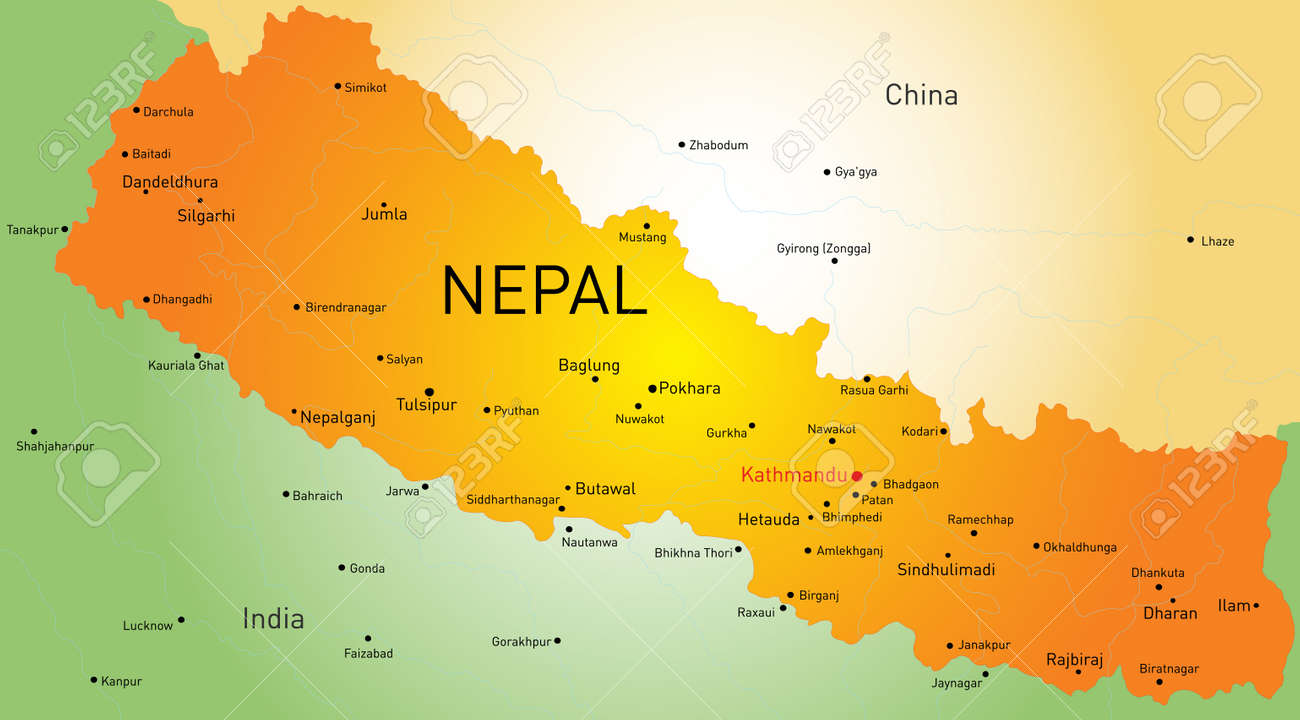 map of Nepal country Stock Vector