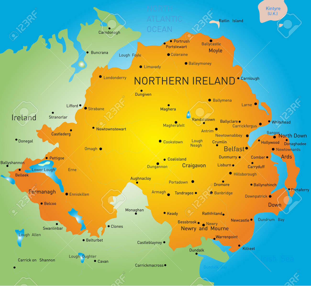 Mapa Irlanda Del Norte.Resumen De Color Mapa De Irlanda Del Norte Del Pais