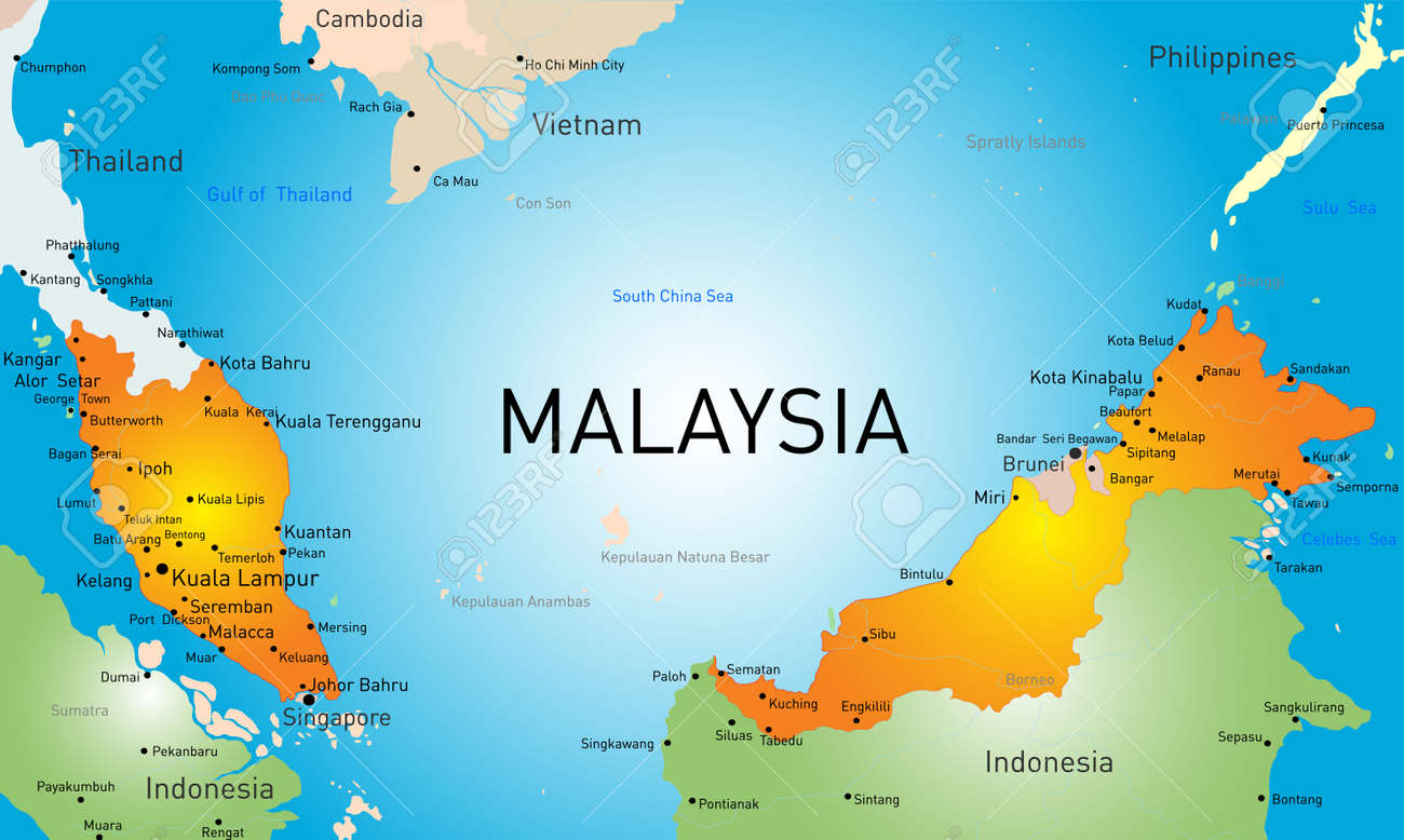 Vector Map Of Malaysia Country Royalty Free Cliparts Vectors And