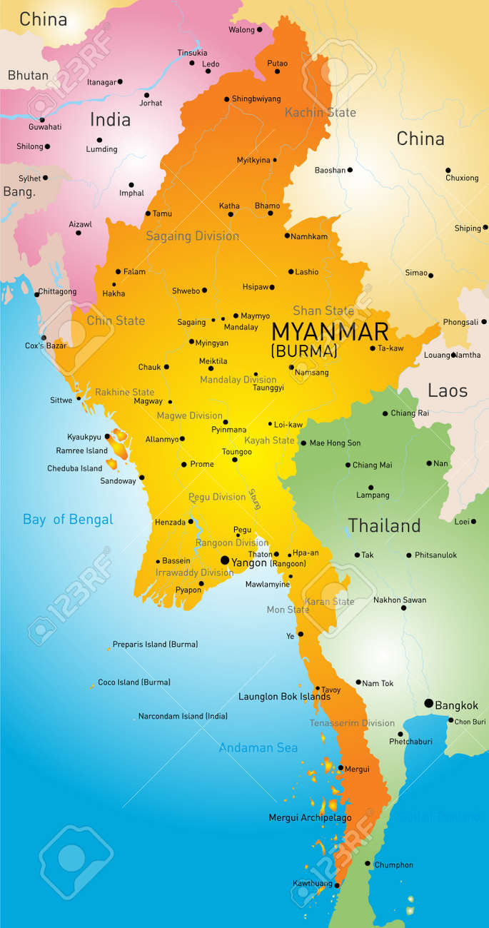 Map Of Myanmar Country Royalty Free Cliparts Vectors And Stock - Myanmar map