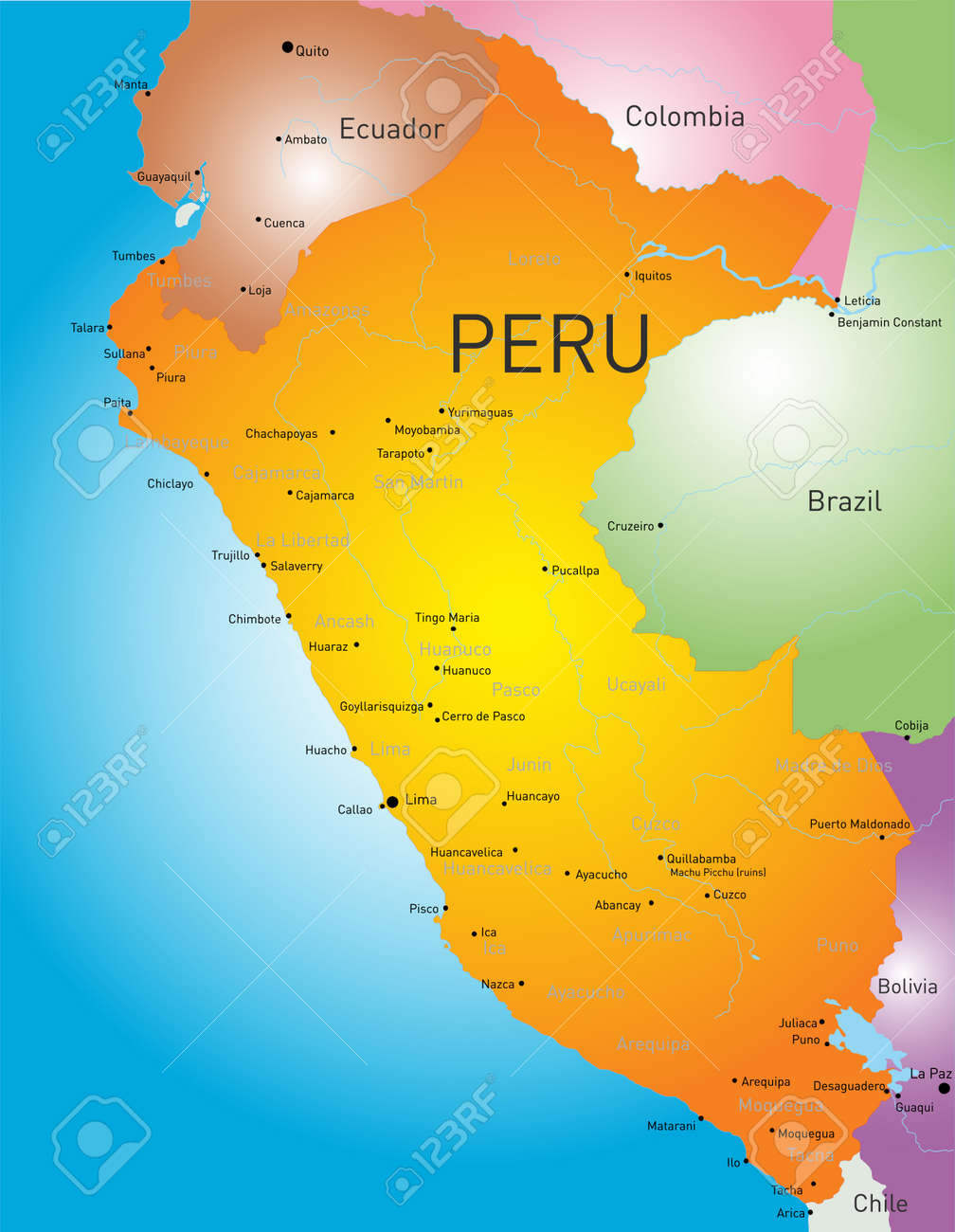 Color Map Of Peru Country Royalty Free Cliparts Vectors And - Map of peru