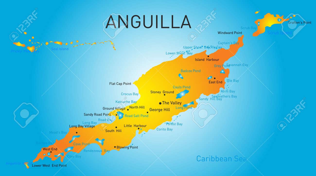 Anguilla Territory Vector Color Map Royalty Free Cliparts Vectors