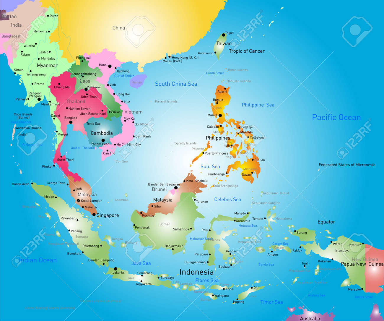 Map Of Asia Bali.Vector Color Southeast Asia Map Royalty Free Cliparts Vectors And
