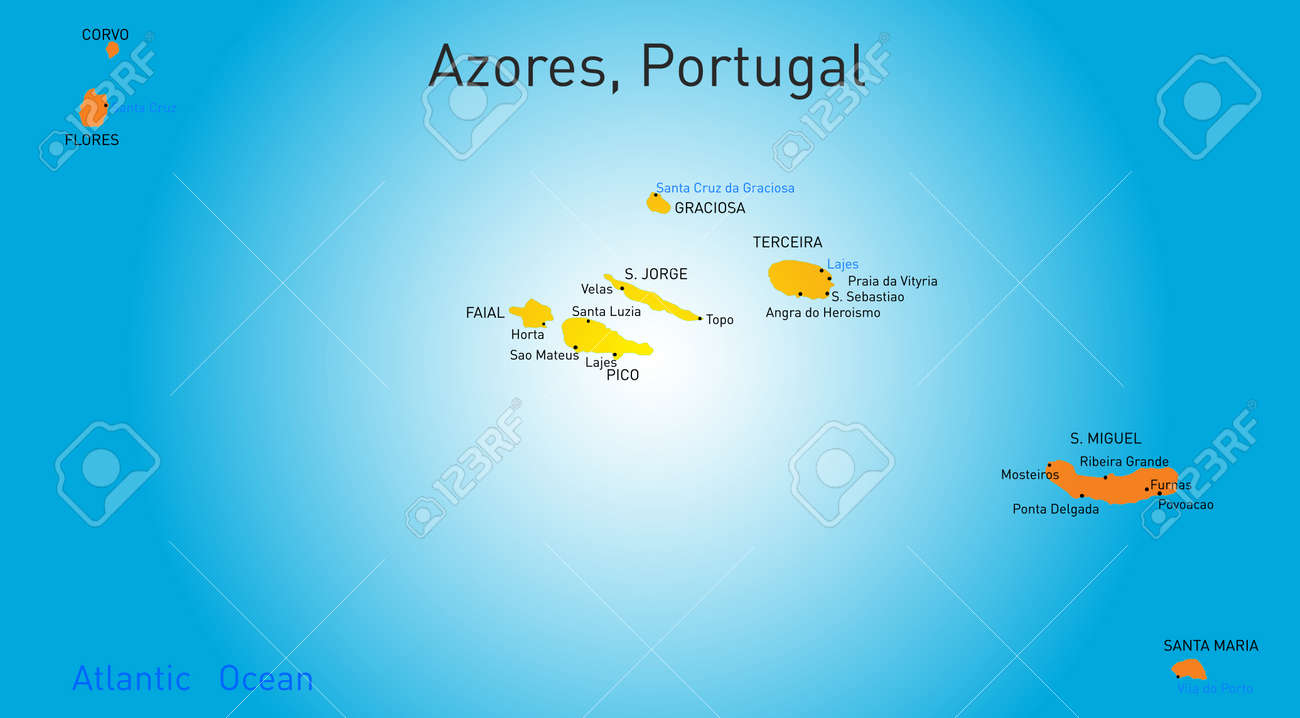 Vector Color Map Of Azores Royalty Free Cliparts Vectors And - Portugal map azores