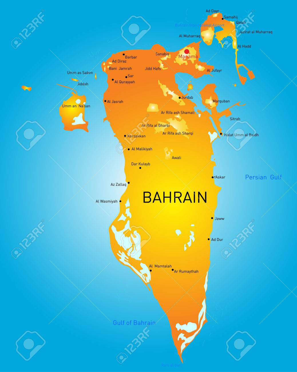Kingdom Of Bahrain Vector Color Map Royalty Free Cliparts Vectors