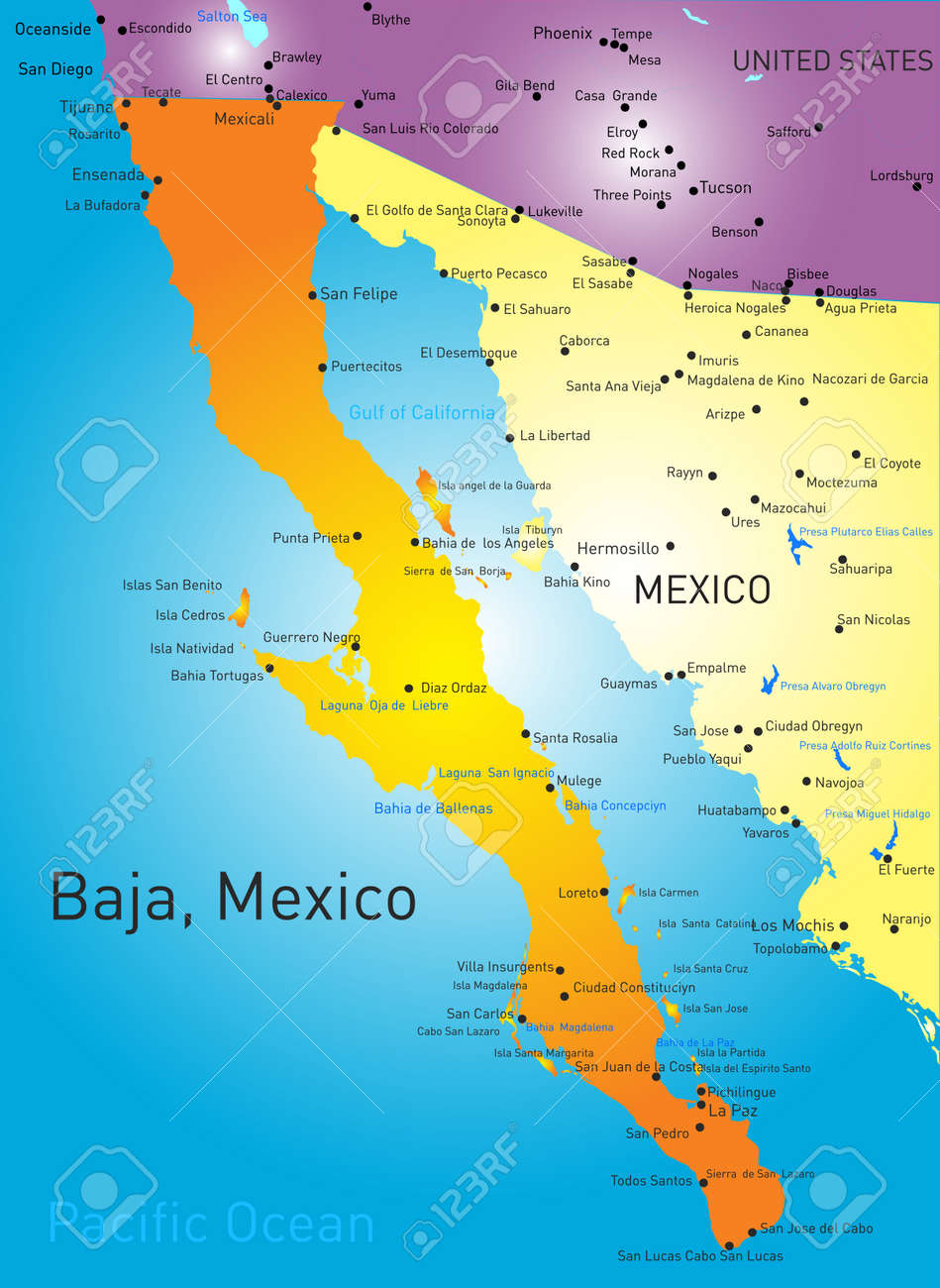 Baja California Vector Color Map Royalty Free Cliparts, Vectors, And ...