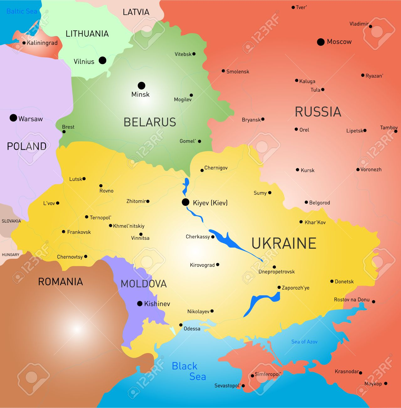 Vector Color Map Of Belarus And Ukraine Country Royalty Free