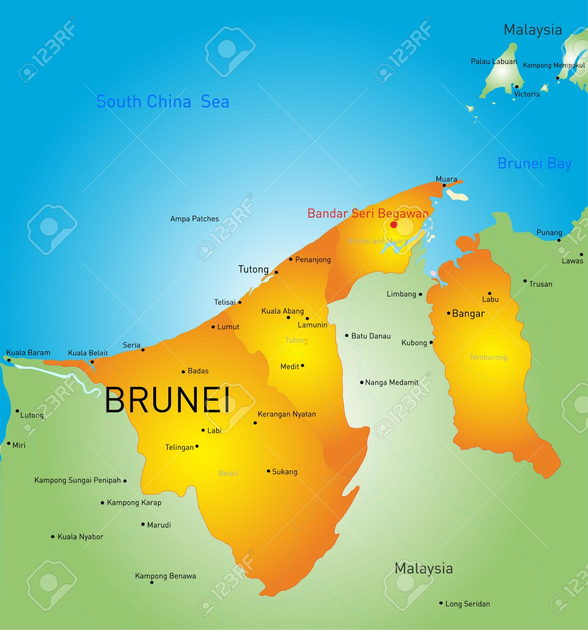 Vector Color Map Of Brunei Country Royalty Free Cliparts Vectors - Brunei map