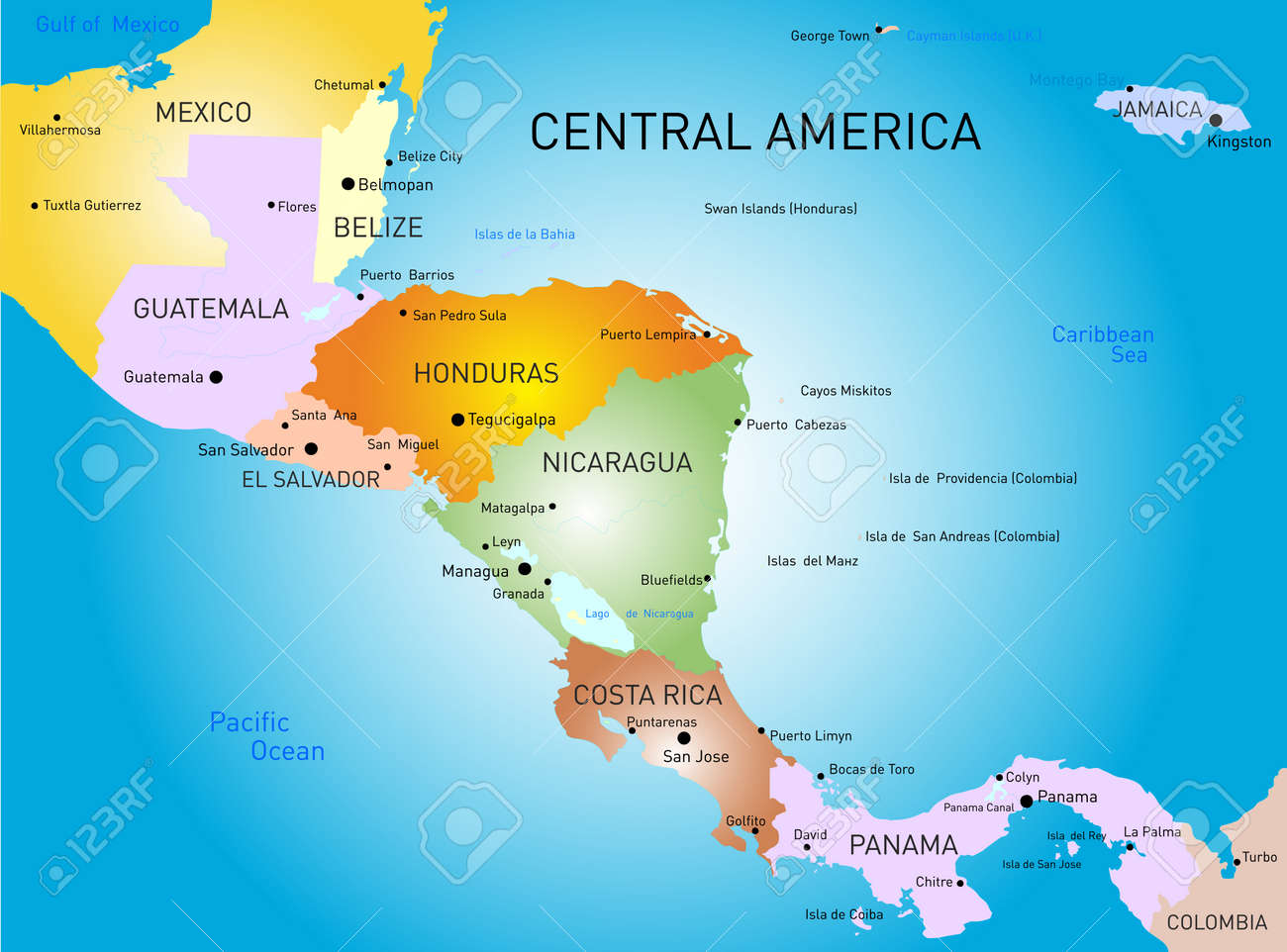 Vector Color Central America Map Royalty Free Cliparts Vectors - Map of costa rica central america