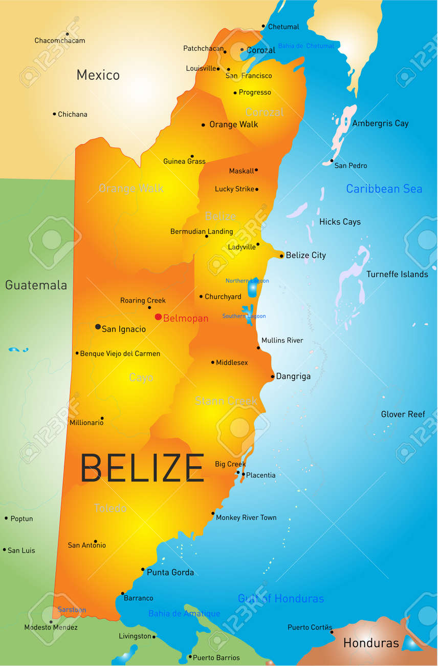 Vector Map Of Belize With The Capital And Cities Royalty Free - Belize map belmopan