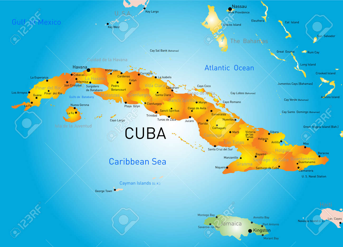 Vector Color Map Of Cuba Country Royalty Free Cliparts Vectors And