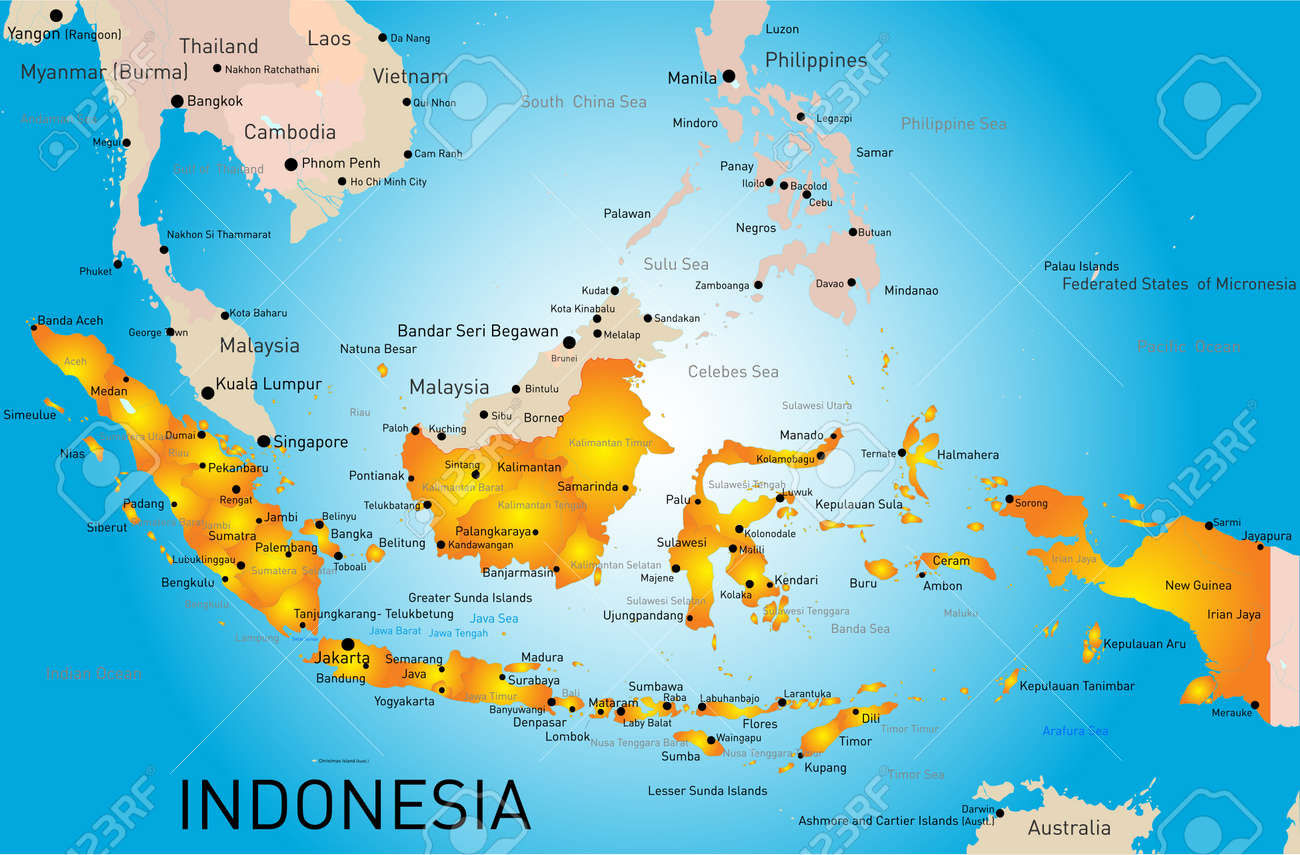 indonesia mapa Indonesia País Vectores De Color Mapa Ilustraciones Vectoriales  indonesia mapa