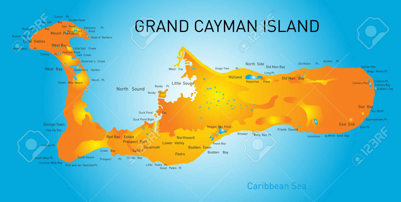 Grand Cayman Islands Vector Map Royalty Free Cliparts Vectors And