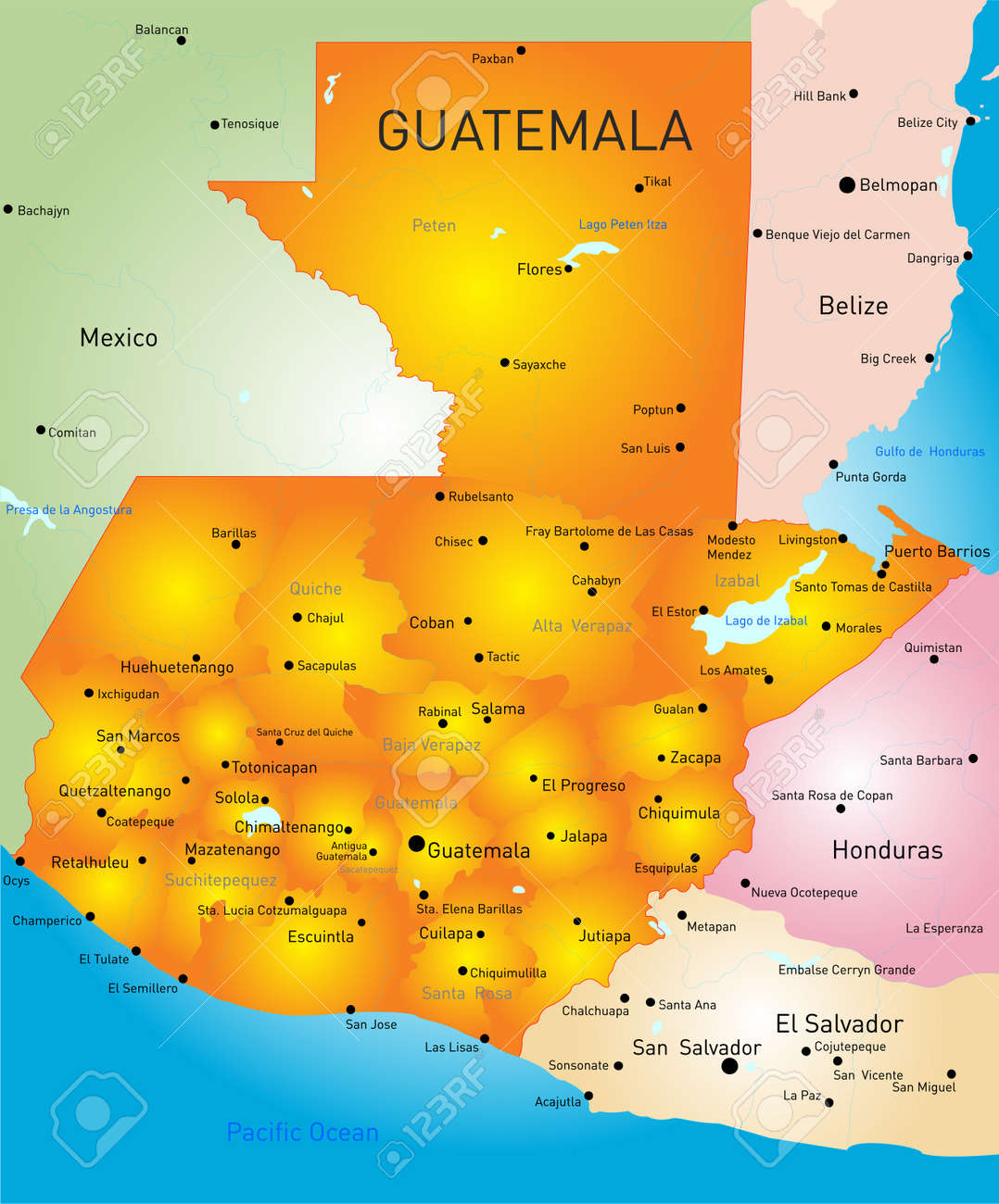 Departments Map Of Guatemala Bikini Atoll Map Hong Kong China Map - Departments map of guatemala
