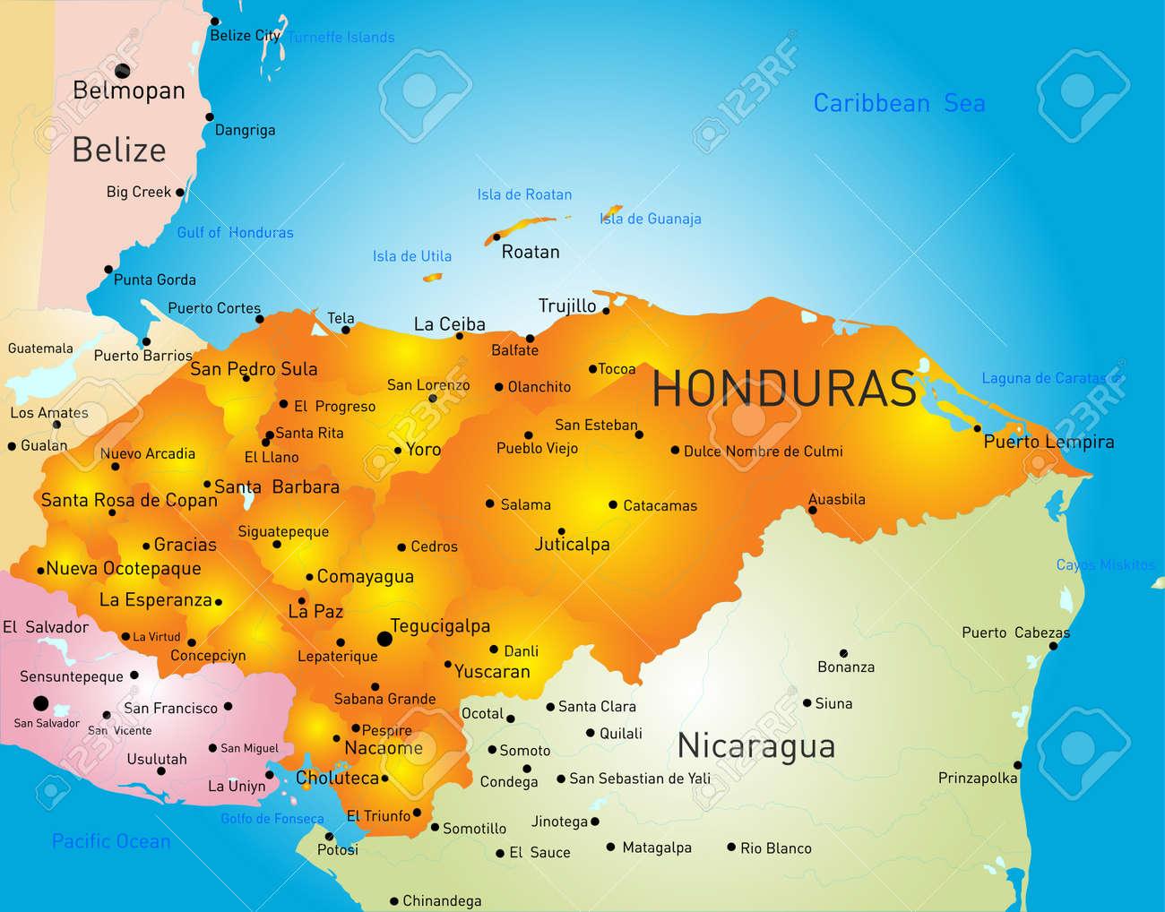 Honduras Country Vector Color Map Royalty Free Cliparts Vectors