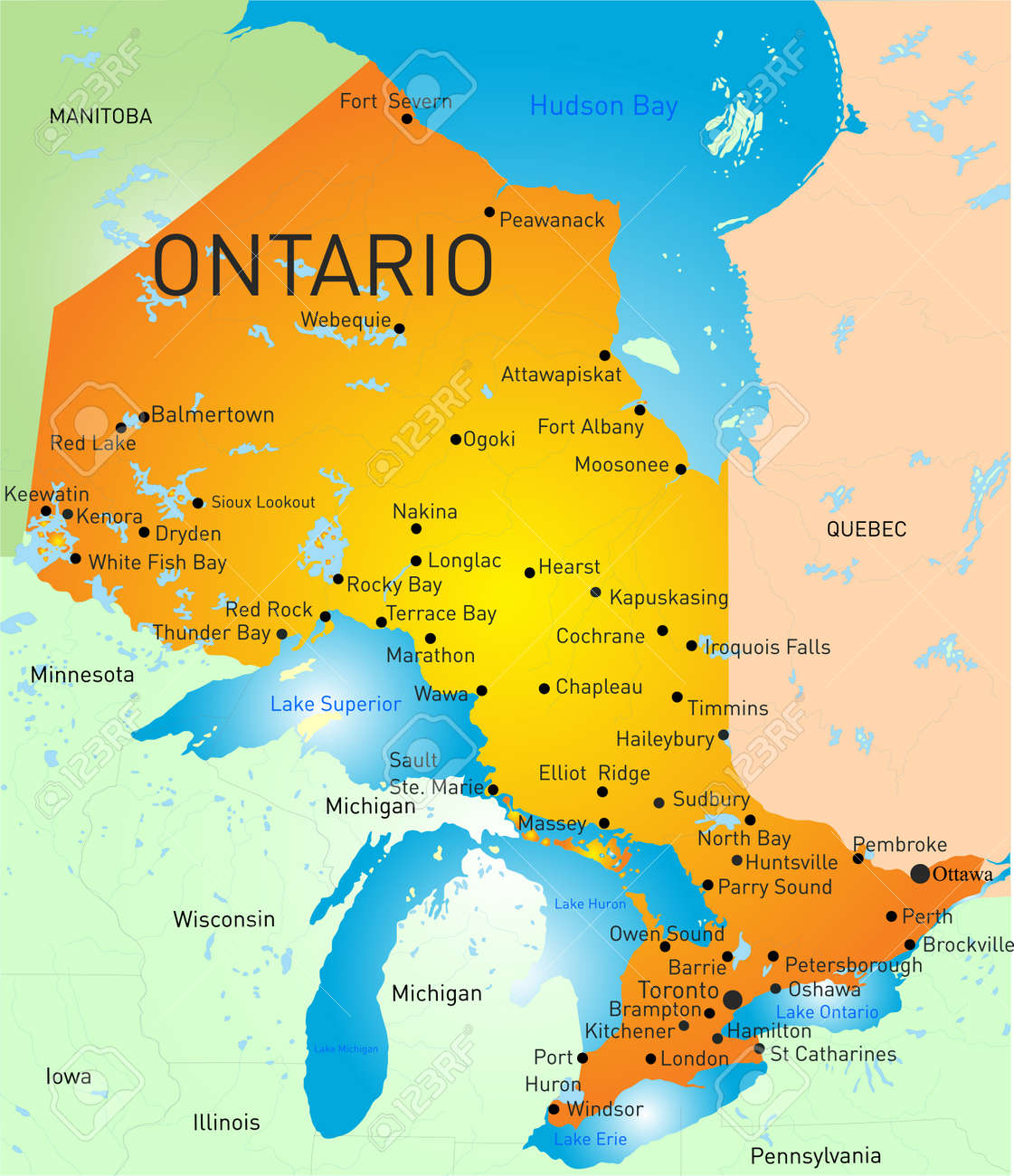 Vector Color Map Of Ontario Province Royalty Free Cliparts - Ontario map