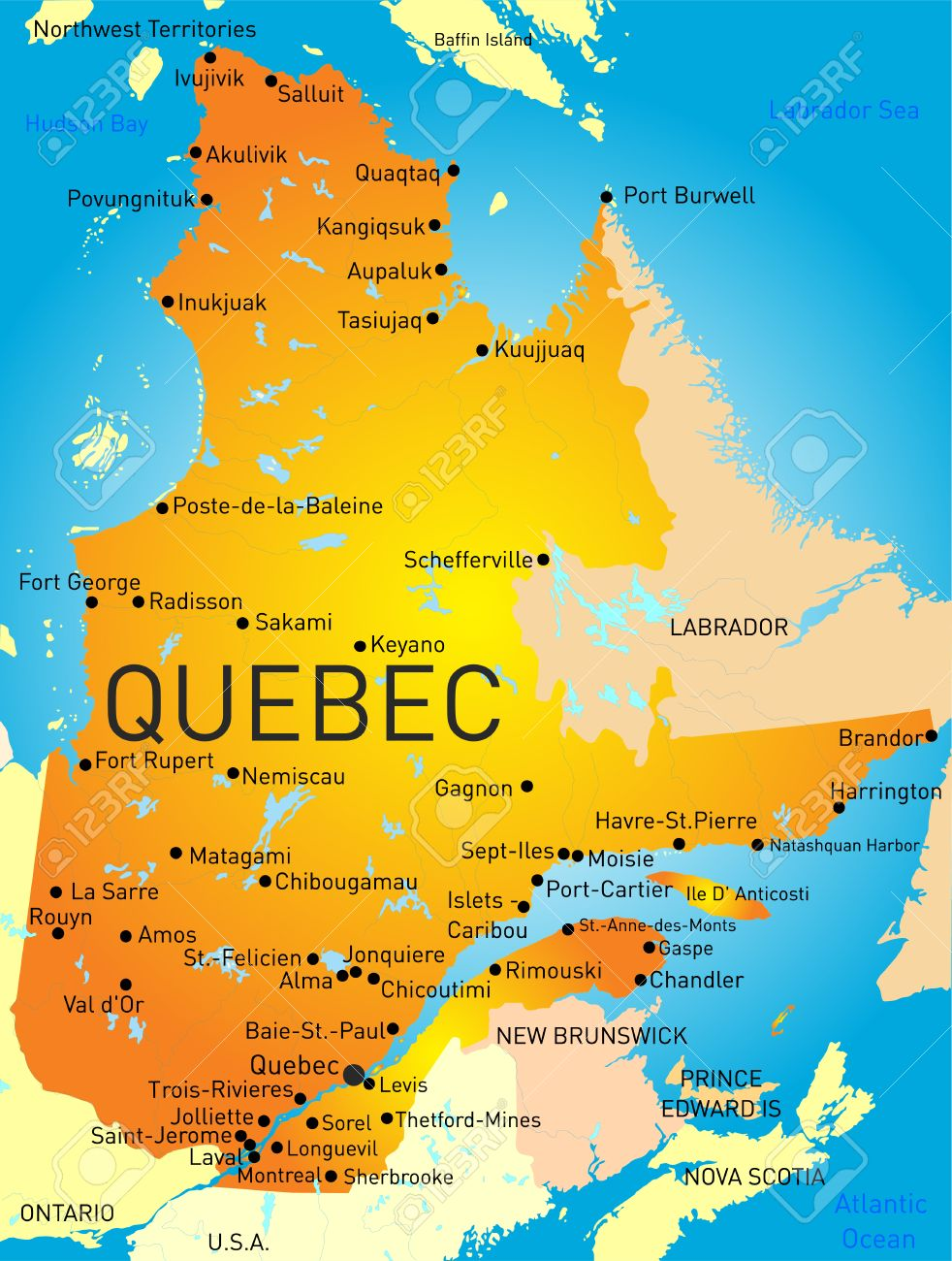 Vector Color Map Of Quebec Province Royalty Free Cliparts Vectors - Quebec chicago map